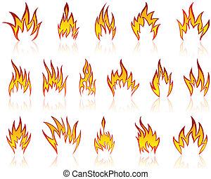 火, パターン, セット