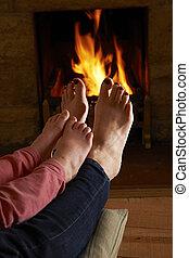 火, フィート, 子供, 暖まること, 母