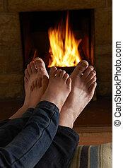 火, フィート, 父, 暖まること, 子供