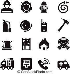 火, ベクトル, アイコン, 部門, イラスト