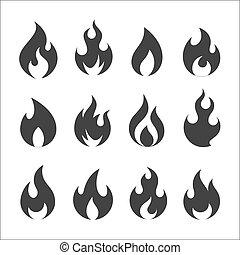 火, ベクトル, セット, アイコン
