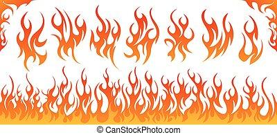 火, ベクトル, セット, 炎
