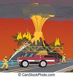 火, ベクトル, 漫画, イラスト, 消すこと