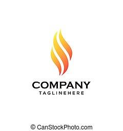 火, ベクトル, 炎, テンプレート, ロゴ, デザイン