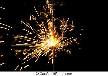 火, ベンガル, バックグラウンド。, 黒, 花火, クリスマス