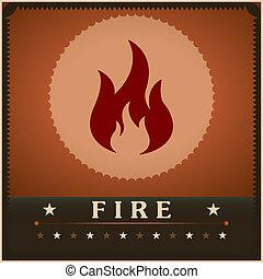 火, ポスター, 創造的, ベクトル, デザイン, テンプレート, 炎