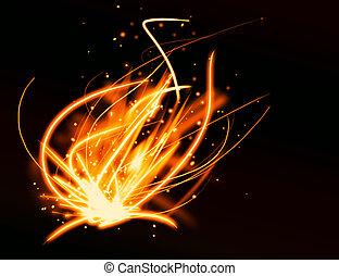 火, ライト, 抽象的, 背景