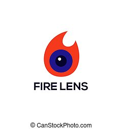 火, レンズ, ベクトル, ロゴ
