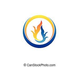 火, ロゴ, デザイン, テンプレート, 炎