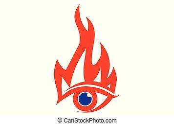 火, ロゴ, ベクトル, 目, アイコン