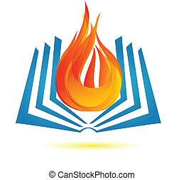 火, ロゴ, 本, ベクトル