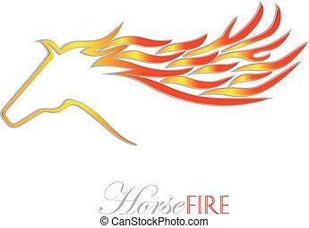 火, ロゴ, 馬, ベクトル