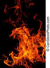 火, 上, 黑色的背景
