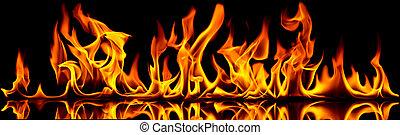 火, 以及, flames.