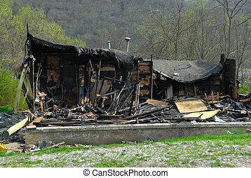 火, 傷つけられる, 家, 燃えた