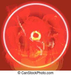 火, 円, 赤い背景