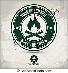 火, 切手, 選択肢, 緑
