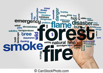 火, 単語, 森林, 雲