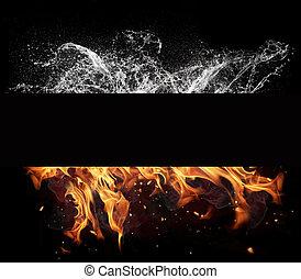 火, 同时,, 水, 元素, 在上, 黑色的背景