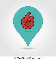 火, 地図, ベクトル, ピン, アイコン