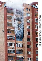 火, 大きい, tenement-house, 1(人・つ), アパート