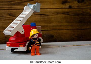 火, 子供たちのおもちゃ, トラック, 消防士