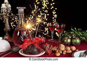 火, 布丁, 聖誕節, 閃耀