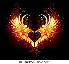 火, 心, 翼, 天使