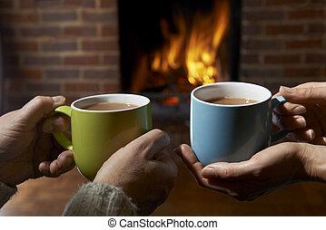 火, 恋人, 飲みなさい, 暑い, 弛緩