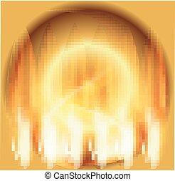 火, 抽象的, 円, 背景