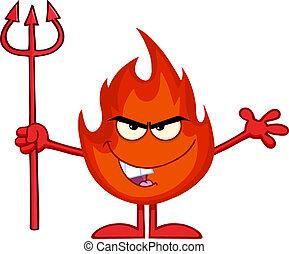 火, 持ちこたえる, 悪, 干し草用フォーク