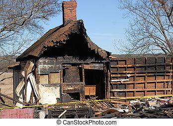 火, 損害, ......的, 家