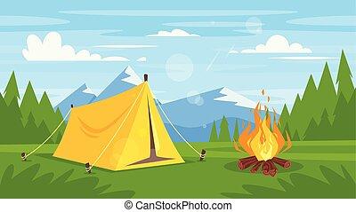 火, 森林, キャンプ, 岩が多い 山