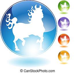 火, 水晶, 馬, アイコン