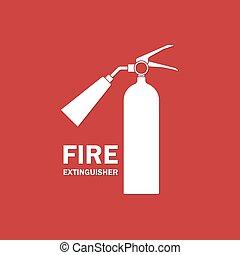 火 消火器, アイコン, テキスト