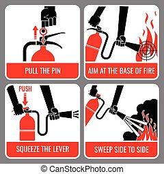 火 消火器, ベクトル, 指示