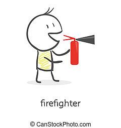 火 消火器, 漫画, 保有物, 人