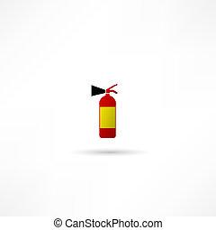 火 消火器, 白, 隔離された, 背景