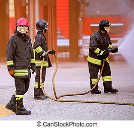 火, 消防士, の間, 古い, 強くされた, ef, 消すこと
