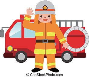 火, 消防士, トラック, childre