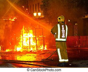 火, 消防士, パッティング, から