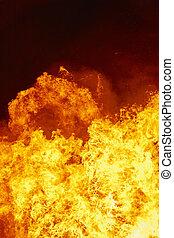 火, 火焰, detail., 消防隊員, emergency., 碳, emission., 環境