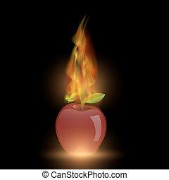 火, 炎, アップル, 赤