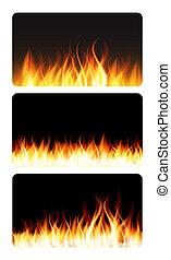 火, 炎, イラスト, 燃焼, banner.