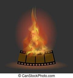 火, 炎, ストライプ, 燃焼