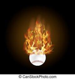火, 炎, ボール, 野球, 燃焼