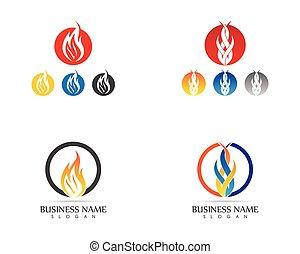 火, 炎, ロゴ, デザイン, 概念