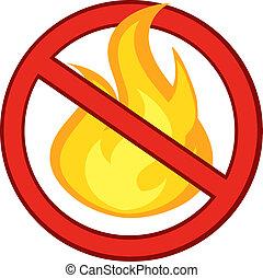 火, 炎, 止まれ, 燃焼, 印