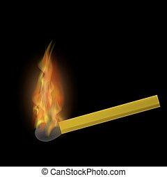 火, 炎, 燃焼, マッチ