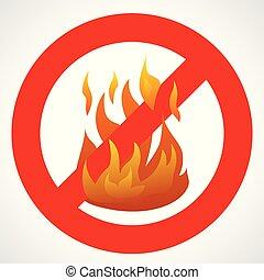 火, 炎, 赤, 禁止, 印
